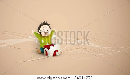 Little Child Excited about Opening Christmas or Birthday Present | Layered Vector Background