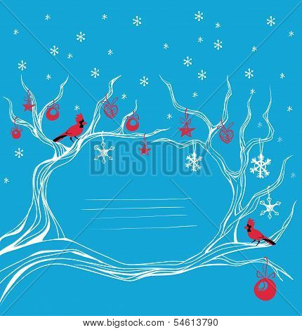 Christmas background cardinal bird  brunch decoration