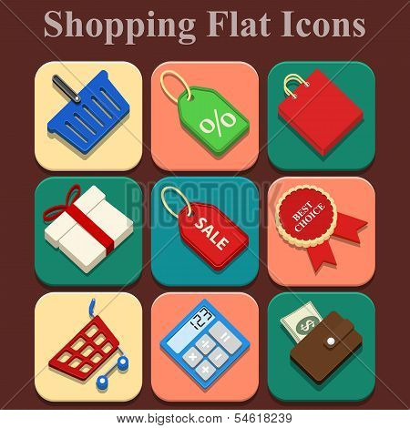Shopping Vector Flat Color Icons Set