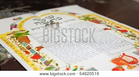Traditional Jewish Wedding, Signing Prenuptial Agreement  Ketubah