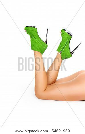 Sexy Legs In Green Heels Isolated