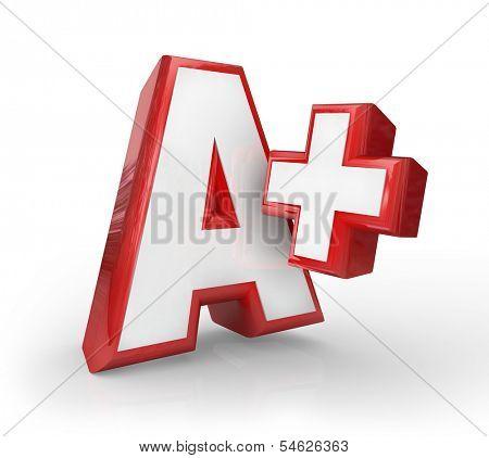 A+ Plus Letter Grade Rating Top Score