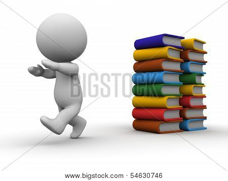 A 3D guy running away from a stack of books poster