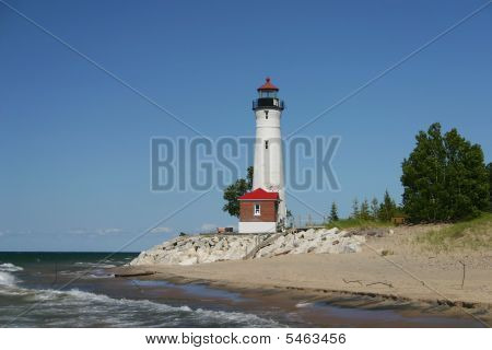 Lake Superior And Lighthouse