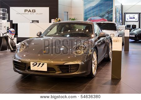 Porsche 911 Carrera S Car On Display At The Siam Paragon Mall In Bangkok, Thailand.