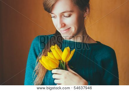 Female Hands Holding Bouquet Flowers