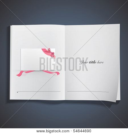 Business Card With Red Ribbons Printed On Book. Vector Design