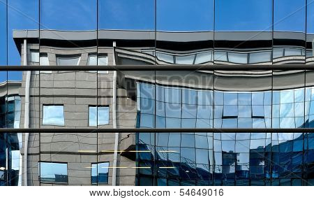 Reflections on a building