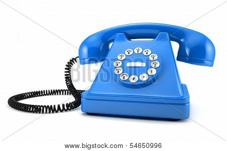 Blue Old-fashioned Phone