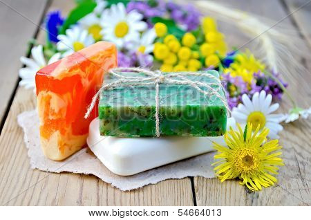Soap Homemade With Wildflowers On The Board
