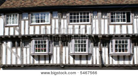 Timber-framed And Plasteredf Medieval House