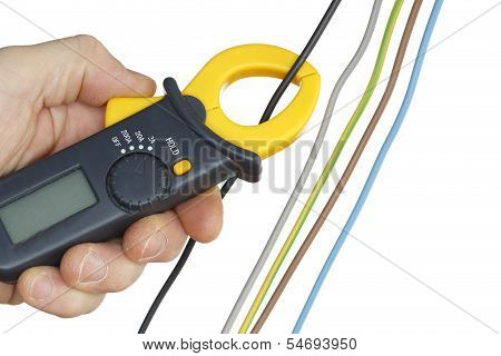 testing with ammeter in hand white background poster
