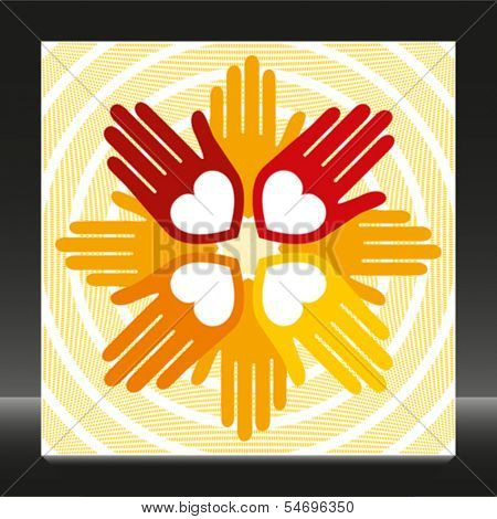 Colorful united loving hands vector.