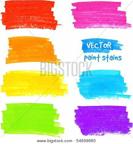 Colorful rainbow marker vector paint stains