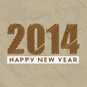 Stylish Happy New Year 2014 celebration flyer, banner, poster or invitation with stylish text on grungy brown background.  poster