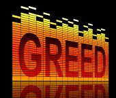 Illustration depicting graphic equalizer level bars with a greed concept. poster