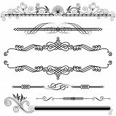 Set of Horizontal Ornamental design elements vector illustration. poster