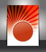 Stylish flyer with badge on sunrays background. Design layout template poster
