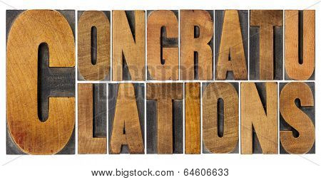 congratulations - isolated word abstract in vintage letterpress wood type