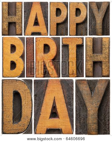 happy birthday - isolated word abstract in vintage letterpress wood type