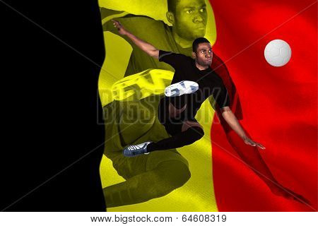 poster of Football player in black kicking against belgium flag