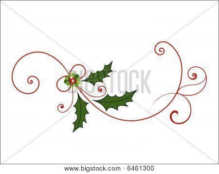 Elegant Christmas Flourish with mistletoe berries and coils poster