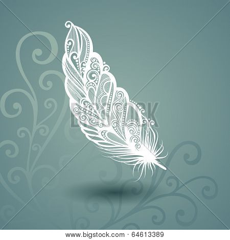 Template with Peerless Feather on Ornate Background