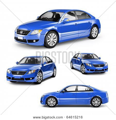 Image of a Blue Car on Different Positions