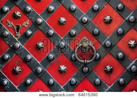 Old Red Door With Handle