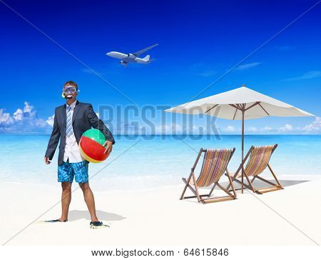 Businessman by the Beach Getting Away From it All