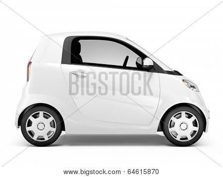 Side view studio shot of white mini car.