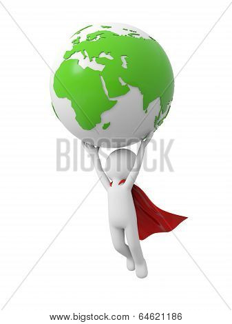 Superman with 3d earth