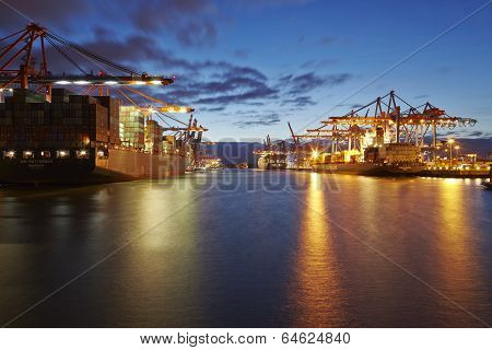 Container Vessels At Hamburg Harbour