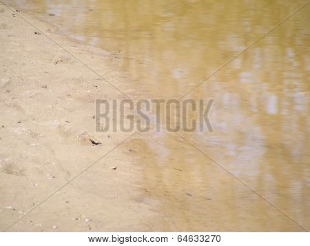 Golden Water And Sand Background