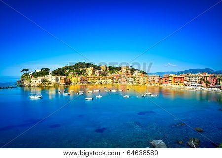 Sestri Levante silence bay or Baia del Silenzio sea harbor and beach view on morning. Liguria Italy. Long Exposure poster