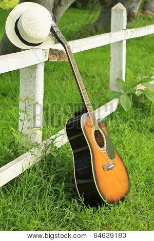 Single Guitar Against Green Grass