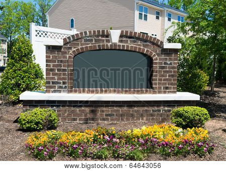 Blank subdivision entrance sign