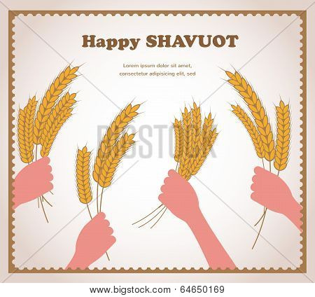 happy Shavuot, Jewish holiday card.