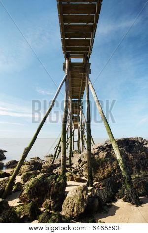 Wooden footbridge above
