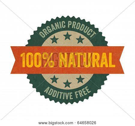 Label with the text Natural on a white background