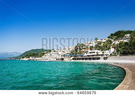 Embankment and beach in Herceg Novi Montenegro poster