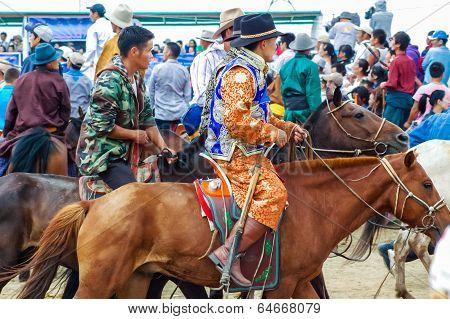 Crowd Of Horseback Spectators, Nadaam Horse Race