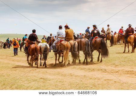 Group Of Horseback Spectators On Steppe, Nadaam Horse Race