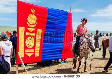 Mongolian Flag, Nadaam Horse Race