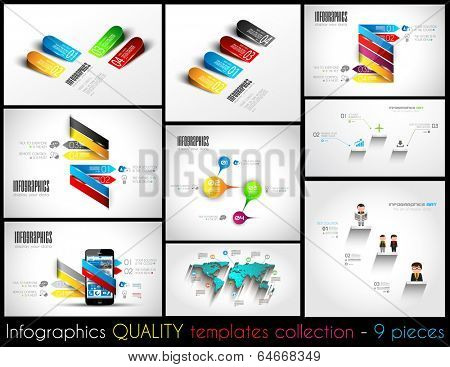 Collection of 9 quality Infographic Templates. A lot of different templates ready to display your data.