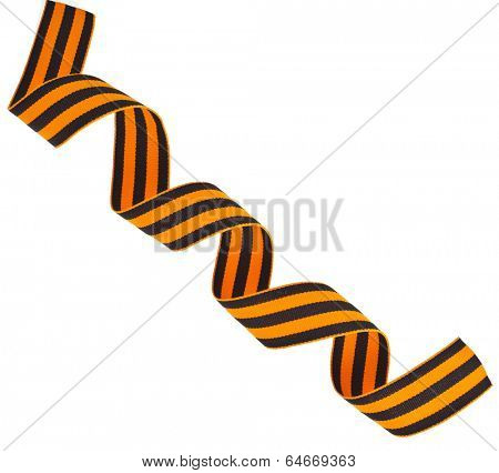 black orange strip ribbon tape- symbol of russian military prowess   close up isolated on white background