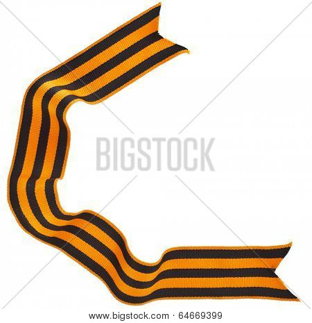 St. George ribbon tape- symbol of russian military prowess   isolated on white