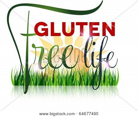 Gluten Free Diet Text And Grass At The Front, Sun At The Background