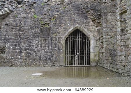 Metal gate at Coity Castle, Bridgend