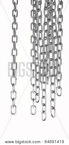chains cut out and isolated on white, steel colour